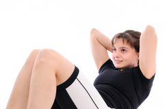 Fitness woman exercises belly Royalty Free Stock Photography