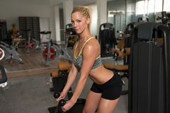 Fitness Woman Exercising Biceps On Machine Stock Image