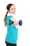 Fitness woman exercising with dumbbells Stock Image