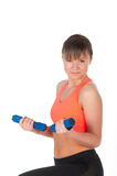 Fitness woman exercising with dumpbells Royalty Free Stock Photo