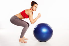 Woman with Pilates ball Stock Photo