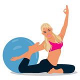 Fitness, woman exercising with stability ball, vector illustration. Vector illustration of fitness woman exercising Stock Photography