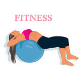 Fitness, woman exercising with stability ball, vector illustration. Vector illustration of fitness woman exercising Stock Images