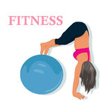 Fitness, woman exercising with stability ball, vector illustration. Vector illustration of fitness woman exercising Stock Photo