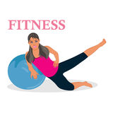 Fitness, woman exercising with stability ball, vector illustration. Vector illustration of fitness woman exercising Royalty Free Stock Photography
