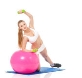 Fitness woman with fitness-ball Stock Image