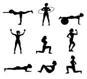Fitness For Woman Flat Icons Set Royalty Free Stock Image