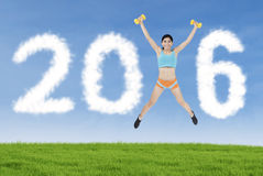 Fitness woman Forming Number 2016 Stock Image