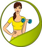 Fitness woman with free weights in gym. Beautiful fitness woman with free weights in gym Stock Photography