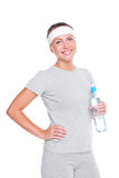 Fitness woman in grey sportswear Royalty Free Stock Photos