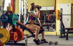 Fitness woman in gym Royalty Free Stock Photos