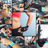 Fitness woman hand with wearing watchband Stock Photo