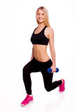 Fitness woman holding dumbbells portrait isolated on white backg Royalty Free Stock Image