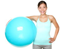 Fitness woman holding pilates ball. Fitness exercise woman holding pilates ball ready for exercising Stock Images