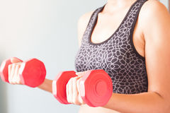 Fitness woman holding red dumbbells, Workout and healthy Stock Images