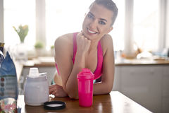 Fitness woman at home Stock Photos