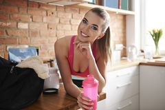 Fitness woman at home royalty free stock image