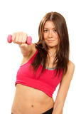 Fitness woman instructor on diet weights dumbbells Stock Photos