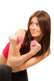 Fitness woman instructor with weights dumbbells Royalty Free Stock Photos