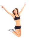 Fitness woman jumping excited Stock Photos
