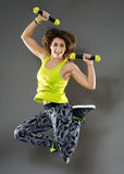 Fitness woman jumping Stock Photos