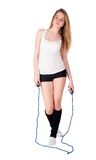 Fitness woman with jumping rope Stock Images