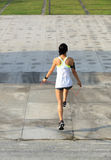 Fitness woman jumping rope on city Royalty Free Stock Photography