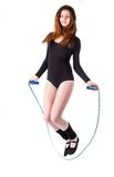 Fitness woman with jumping rope Stock Image