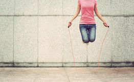 fitness woman jumping rope outdoor Stock Image