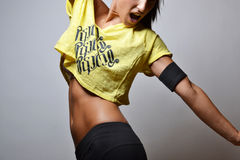 Fitness woman. Jumping, studio shot Royalty Free Stock Images