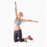 Fitness Woman Jumping Stock Images
