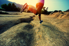 Fitness woman legs running on trail Royalty Free Stock Photos