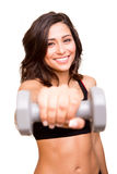 Fitness woman lifting weights Stock Image