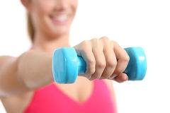 Fitness woman lifting weights exercising aerobic Stock Photography