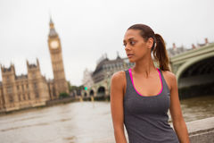 Fitness woman in london Stock Photo