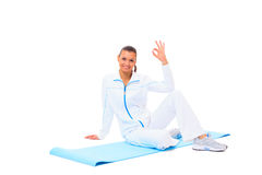 Fitness woman making a break in tailor-seat Stock Image