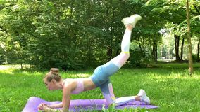 Fitness woman making exercise on green lawn. Fitness woman making exercise on green lawn stock footage