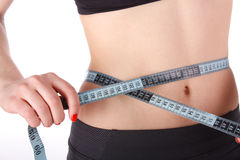 Fitness woman measuring her waist Royalty Free Stock Photo