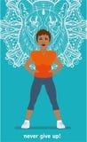 Fitness Woman mulatto. Sport banner. Flat illustration Stock Photo