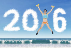 Fitness Woman with Numbers 2016 Royalty Free Stock Images