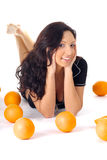 Fitness woman with orange Stock Image