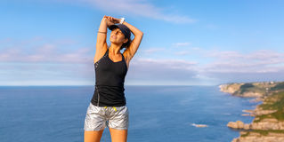Fitness woman outdoors Stock Images