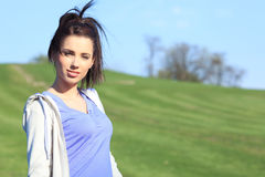 Fitness woman in park Stock Images