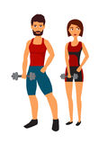 Fitness woman with personal trainer Stock Photography