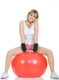 Fitness woman on pilates ball Royalty Free Stock Image