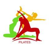 Fitness woman, Pilates studio emblem, vector illustration Stock Photo