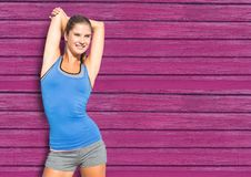 fitness woman with pink wood background stock image
