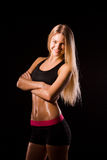 Fitness woman portrait isolated on white background.. Photography of Fitness woman portrait isolated on white background. Smiling happy female fitness model Royalty Free Stock Photography