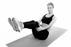 Fitness woman portrait isolated on white background. Stock Images