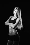 Fitness woman portrait isolated on white background. Smiling hap. Photography of Fitness woman portrait isolated on white background. Smiling happy female Stock Image